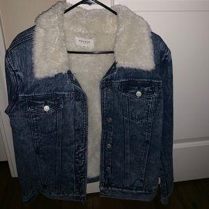 Blue jean jacket fired collar